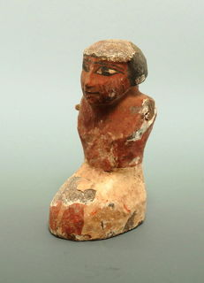 Egyptian painted wooden boatman figure - 75mm height