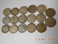Belgium - 5 Francs 1868, 1869, 1871, 1872, 1873, 1875 and 1876, Leopold II - 17 coins - silver