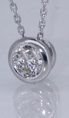 Solitaire pendant, 14 kt, with one 0.30 ct brilliant cut diamond - ***No reserve price***