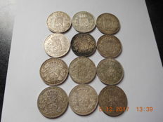 Belgium - 5 Francs 1868, 1869, 1871 and 1873, Leopold II - 12 coins - silver