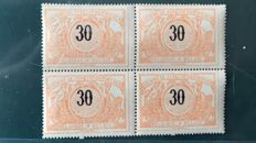 Belgium 1895 - National coat of arms, 30 centimes in block of four with curiosity - OBP TR19
