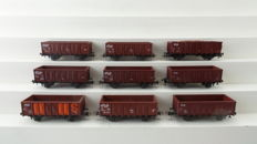 Roco H0 - 66294/46055/46043/46045/4311 - 9 Open boxcars including beet load of the NS
