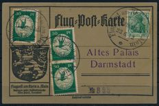 German Reich - 1912 - Air Mail on the Rhine and Main Map with 3 x 30 Pf, Michel III