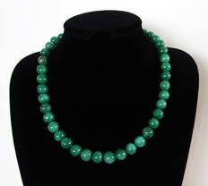 Emerald necklace - polished round pearls - 585 ct - 54.3 cm