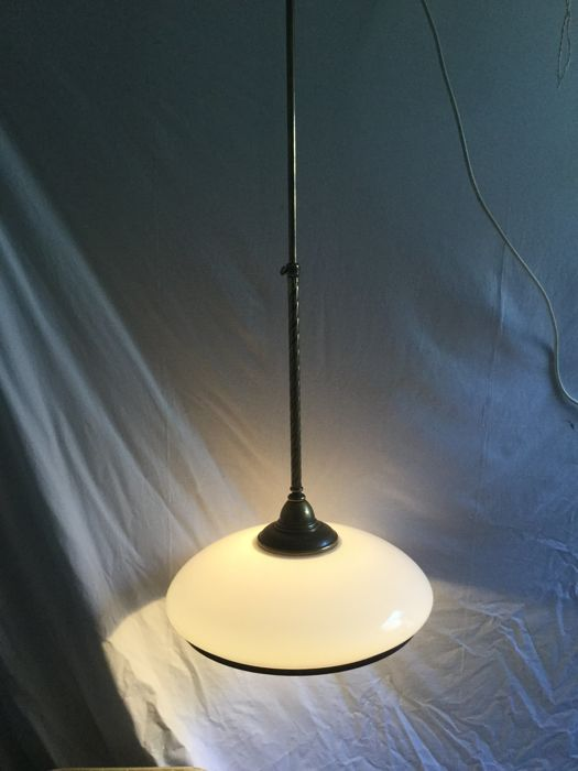 frantzen royal pendant light of milk opaline glass with brass fixtures