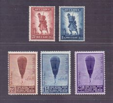 "Belgium 1932 - series ""Infantry"" and ""Balloon Piccard"" - OBP 351/352 + 353/355"