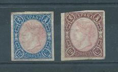 Spain 1865 – Isabel II, 12 and 19 quarters. - Edifil 70/71