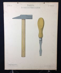 School poster: Hammer and screw driver: Poster from the drawing teaching from the beginning of the last century from Teekenen voor kinderen.