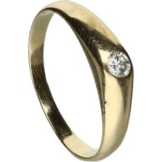 14 kt - Yellow gold ring set with a brilliant cut diamond of approx. 0.05 ct - ring size: 15.5 mm