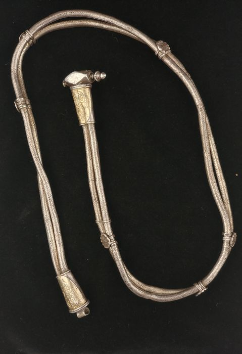 Antique, high-grade silver belt with double cord - India, early 20th century