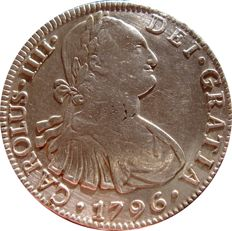 Spain – Carlos IV (1788–1808) – 8 reales silver coin – 1796 – Mexico. F.M.