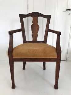 Louis XVI mahogany and elm wooden armchair - the Netherlands - Ca. 1780
