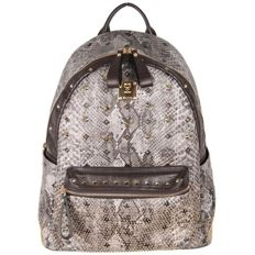 MCM Munchen - Python Canvas Stud Armour Backpack Shoulder Bag