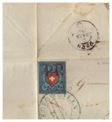 Switzerland 1851 Letter without text, stamped with 5 Rp. (Zumstein 15I)