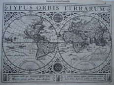 Map of the world; Mercator Gerard / Janssonius - TYPUS ORBIS TERRARUM - 1628.