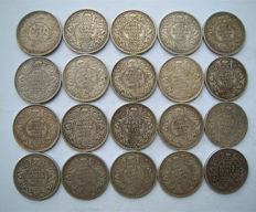 British India - Rupee 1912/1919 George V (20 pieces) - silver