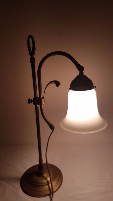 Copper desk lamp with frosted glass shade, second half 20th century, Netherlands