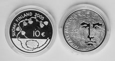 """Finland - 10 Euros 2005 """"60 years of Peace"""" + 10 Euros 2007 """"Mikael Agricola"""" - silver"""