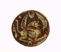 Stamp seal, Sphinx with human head, red Jasper Ø = 22.3 mm.