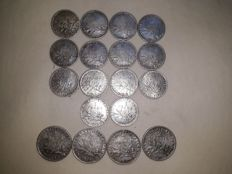 France - lot of 18 coins (1 Franc and 2 Francs 'Sower') 1898/1918 - silver
