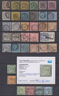 Baden 1851/1868 - Mi Nr. 1/5, 7/12, 15, 17/25. (11 stamps are signed, 7000 €)