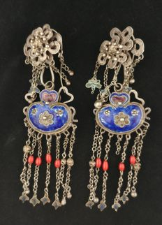 Antique high-grade silver earrings, enamelled - China, early 20th century