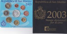San Marino – 2003 – B. U. – Set of 8 coins of 1 ct of €2 + €5 silver coin – 18 g