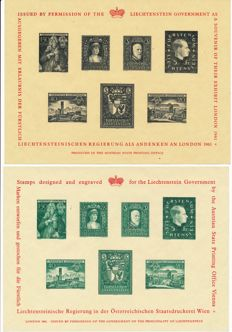 Liechtenstein - 1961 - 2 commemorative blocks with 7 issues black and green
