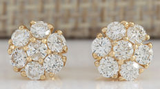 1.00 Carat Diamond 14K Solid Yellow Gold Earrings - Face Measures: 7.90x7.90mm *** Free Shipping *** No Reserve ***