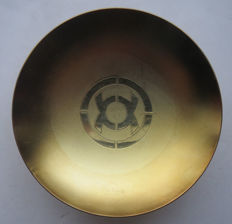 Japanese Sake Cup in gold colour with military army pattern