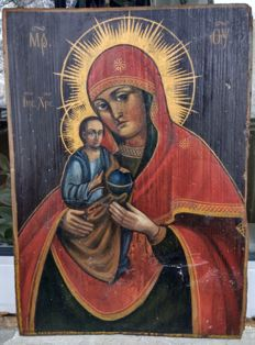 Russian icon (late 19th) - The Mother of God (34 x 25 cm)
