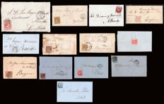 Spain 1856/1870 - Isabel II and Provisional Government. Lot of 13 letters and 23 stamps of postal history of Valencia