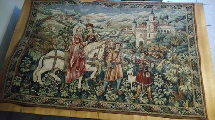 Tapestry, Point d'Halluin, ''Après-midi du Duc de Berry'', France, 20th century
