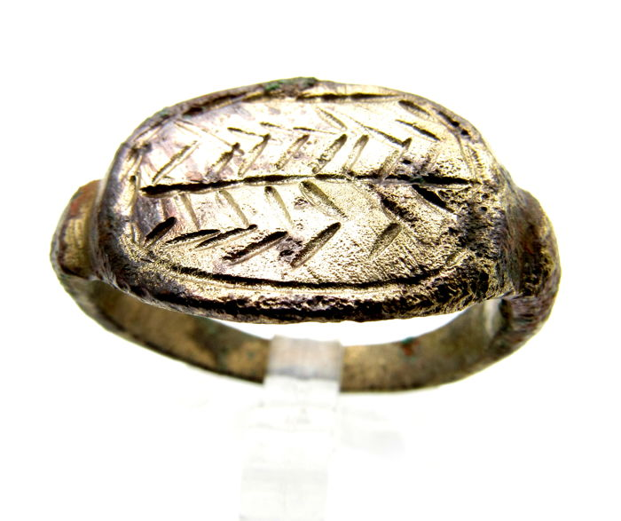 Ancient Greek Bronze Ring With Olive Branch On Bezel Symbol Of