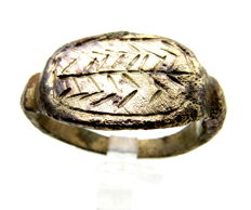 Ancient Greek Bronze Ring with Olive Branch on Bezel - Symbol of Goddess Nike - 21 mm (inner diam.)