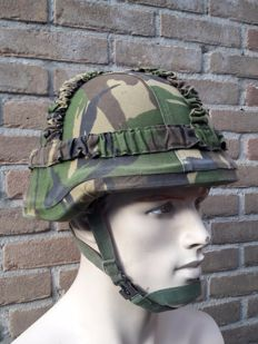 Dutch army - kevlar helmet + camo cover. Dutch army kevlar helmet