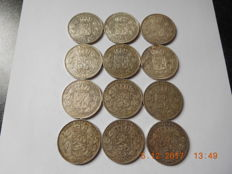Belgium - 5 francs 1868 and 1869 Leopold II - 12 coins - silver