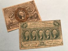 USA - Fractional currency - 10 cents 1863 and 50 cents postage currency 1862