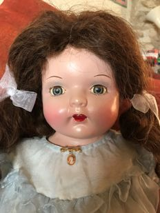 Rare vintage French doll (composition) original outfit 62cm