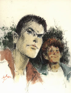 Follet, René - Original colour drawing - Study of the attitudes of Bob Morane with Bill Ballantine - (2010)