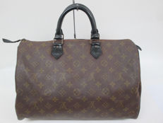 Louis Vuitton – Monogram Macassar Speedy 30/Custom Black Matt – Hand Bag with padlock /1 key