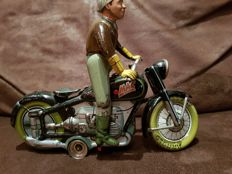 "Arnold, US Zone Germany - Length 19 cm - Tin ""Mac 700"" motorcycle rider with clockwork motor, 1950s"