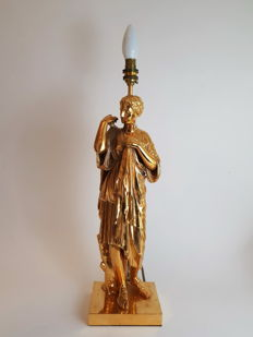 Gilt Bronze figural lamp, France, late 19th century, later mounted as a lamp