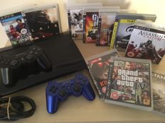 SONY PS3 Console + 2 Official SONY Wireless Controllers (Inc Limited Edition Blue Controller) + 10 Massive Playstation 3 Games + All Leads & Cables