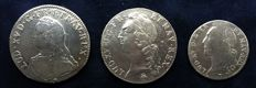 France - Lot of 3 coins (ECU 1726-K, ECU 1745-S and ½ ECU 1741) - Louis XV - Silver