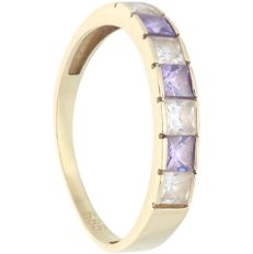 14 kt - Yellow gold ring set with white and purple zirconia - Ring size: 18.25 mm