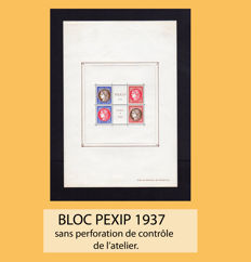 France 1937 – Block PEXIP without perforation – Yvert Block 3c