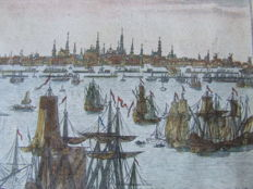 18-century engraving of Amsterdam - View on the IJ