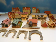 Kibri/Vollmer/Faller N - package with 18 city buildings and tunnel portals
