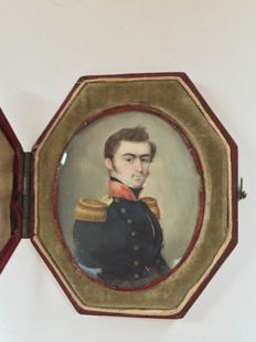 Miniature portrait of a naval officer, in a red moroccan leather etui, German school, first quarter 19th century